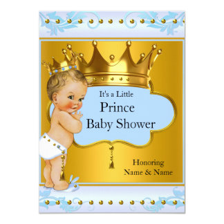 Baby Shower Prince Boy Blue Gold Crown Blonde 4.5x6.25 Paper Invitation Card