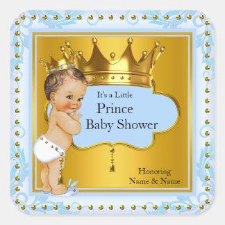 Baby Shower Prince Boy Blue Gold Crown Brunette Square Sticker
