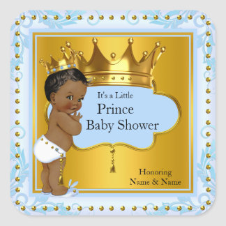 Baby Shower Prince Boy Blue Gold Crown Ethnic Square Sticker