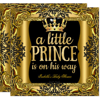 Baby Shower Prince on the way Gold Black Card