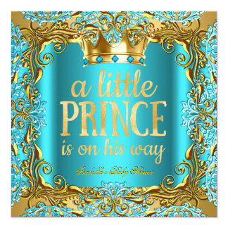 Baby Shower Prince on the way Gold Teal Aqua Card