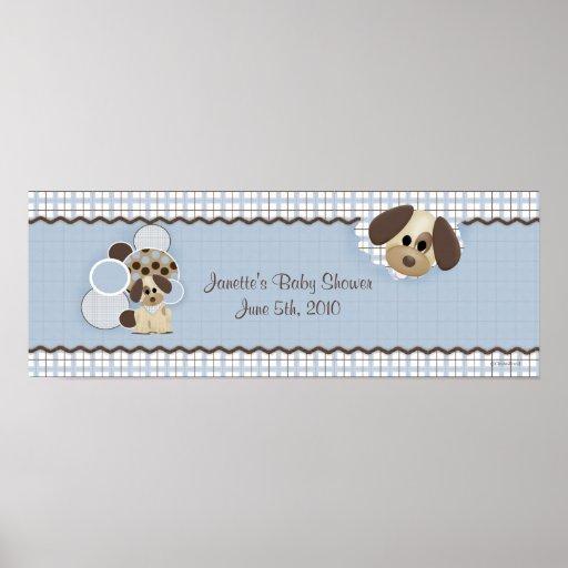 Baby Shower Puppy Banner Poster