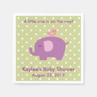 Baby Shower Purple Elephant Polka Dot Napkins