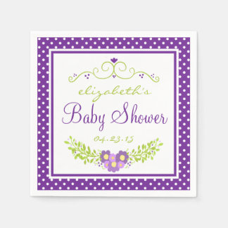 Baby Shower Purple Floral Paper Napkin