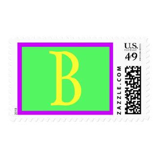 Baby Shower Purple Green Yellow B Postage Stamp