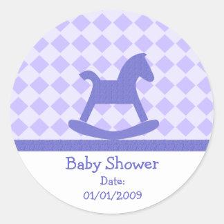 Baby Shower Purple Rocking Horse Stickers