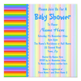 Baby Shower, Rainbow Stripes Pattern. 5.25x5.25 Square Paper Invitation Card