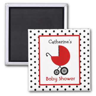 Baby Shower - Red Carriage and Polka Dot 2 Inch Square Magnet