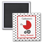 Baby Shower - Red Carriage and Polka Dot Refrigerator Magnet