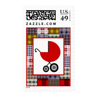 Baby Shower  - Red Carriage & Patchwork Plaid Postage