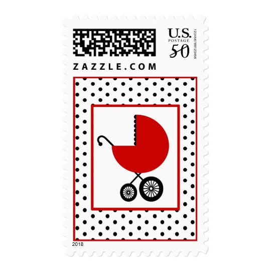 Baby Shower  - Red Carriage & Polka Dot Postage