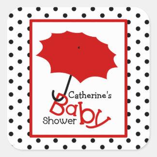 Baby Shower Red Umbrella & Polka Dots Square Sticker