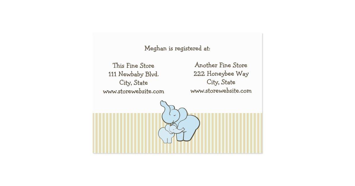 baby shower registry card blue elephant hugs zazzle