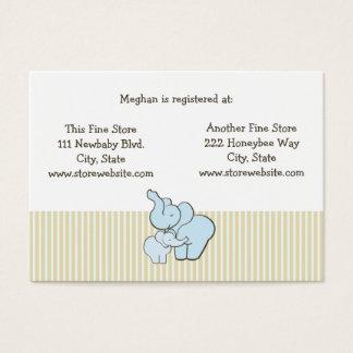 Baby Shower Registry Card Blue Elephant Hugs