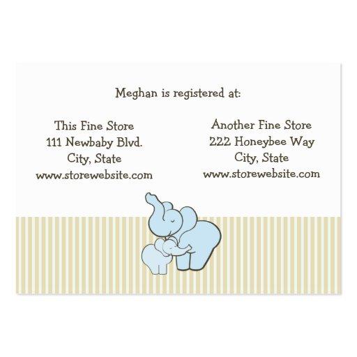 baby shower registry card blue elephant hugs large business cards