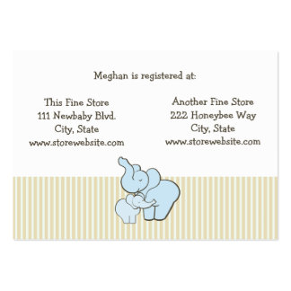 Baby Shower Registry Card Blue Elephant Hugs Business Card Template