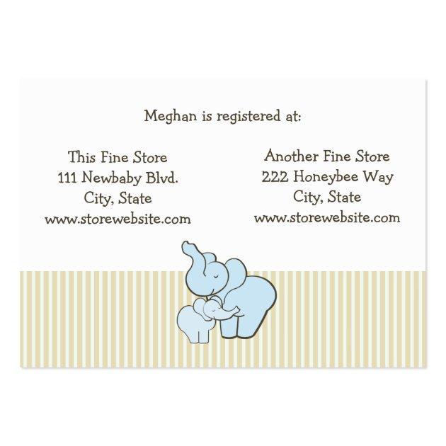 baby shower registry card blue elephant hugs business card template