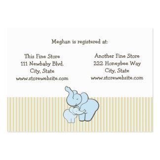 Baby Shower Registry Card Blue Elephant Hugs Large Business Card