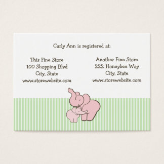 Baby Shower Registry Card Pink Elephant Hugs