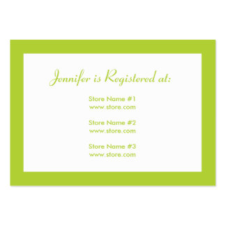 Baby Shower Registry Card with Date - Green Large Business Cards (Pack Of 100)