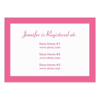 Baby Shower Registry Card with Date - Pink Dots Large Business Cards (Pack Of 100)