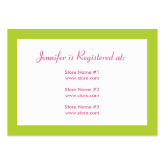 Baby Shower Registry Card with Date - Pink/Green Large Business Cards (Pack Of 100)