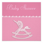 Baby Shower Rocking Horse Unicorn, Pearls & Hearts 5.25x5.25 Square Paper Invitation Card