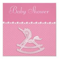 Baby Shower Rocking Horse Unicorn, Pearls & Hearts Invitation