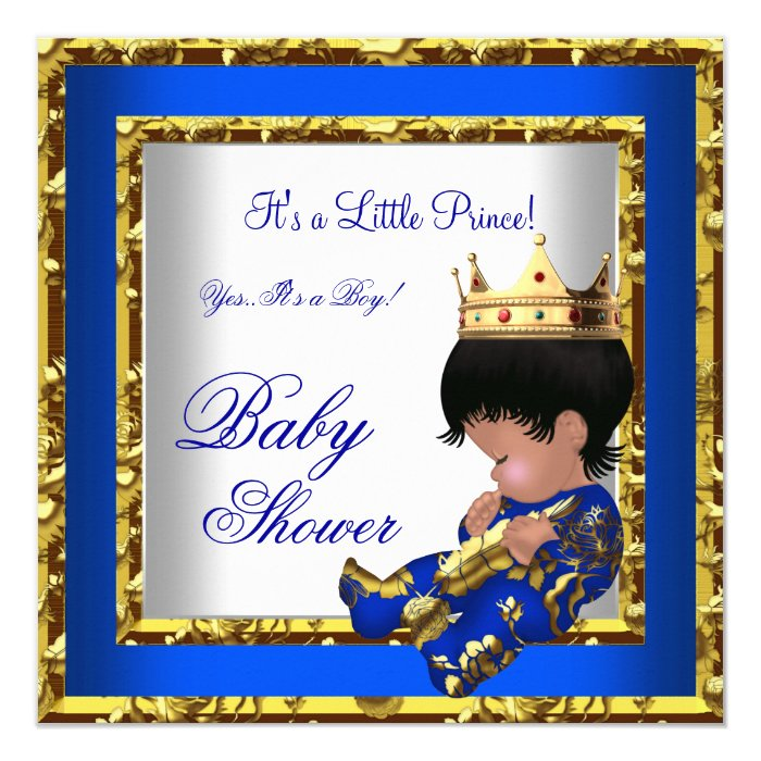 Baby Shower Royal Blue Gold Boy crown prince 2 Card | Zazzle