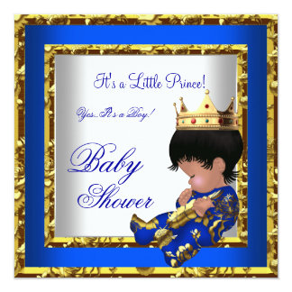 """Baby Shower Royal Blue Gold Boy crown prince 2 5.25"""" Square Invitation Card"""