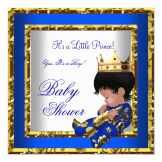 Baby Shower Royal Blue Gold Boy crown prince 2 5.25x5.25 Square Paper Invitation Card