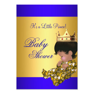 "Baby Shower Royal Blue Gold Boy crown prince 4.5"" X 6.25"" Invitation Card"