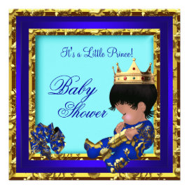 Baby Shower Royal Blue Gold Boy crown prince Custom Invitations