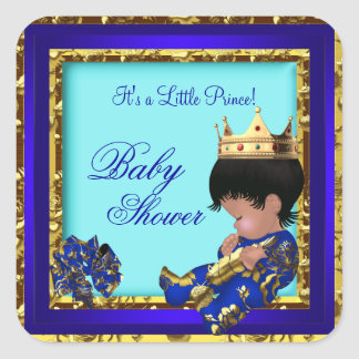 Baby Shower Royal Blue Gold Boy crown prince Square Sticker