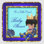 Baby Shower Royal Blue Gold Boy crown prince Square Stickers