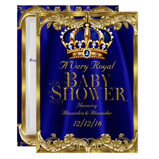 Baby Shower Royal Blue Navy Gold Crown Card