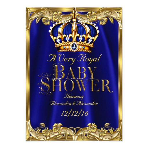 baby shower royal blue navy gold crown paper invitation card