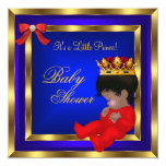 Baby Shower Royal Red Blue Gold Boy crown prince 2 Invites