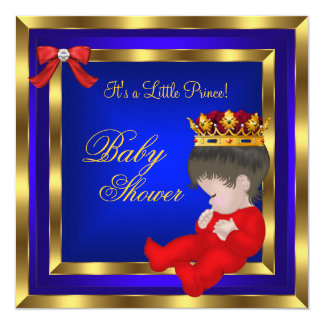 Baby Shower Royal Red Blue Gold Boy crown prince 3 Invites