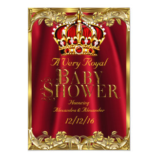 Baby Shower Royal Regal Red Gold Crown 5x7 Paper Invitation Card