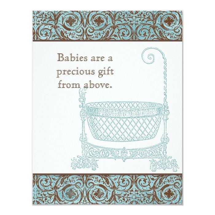 Baby Shower RSVP - Blue Brown Damask Cradle Card