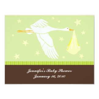 Baby Shower RSVP Card - Green and Brown