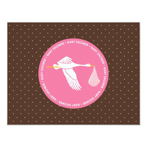 Baby Shower RSVP Card - Pink and Brown Dots