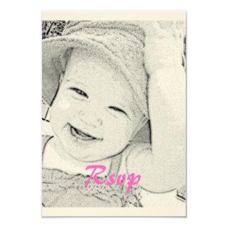 Baby Shower Rsvp pink print Card