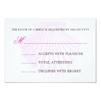 Baby Shower RSVP Vintage Scallop Shell Pink Card