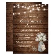 Baby Shower Rustic Baby's Breath Floral Mason Jar Card