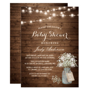 Baby Shower Rustic Baby's Breath Floral Mason Jar Card at Zazzle