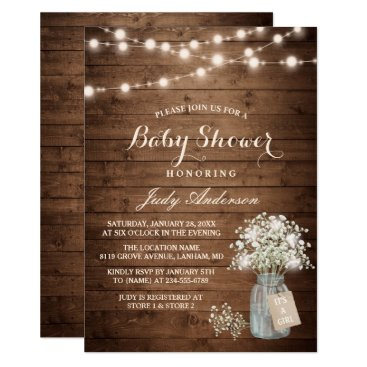 Toddler & Baby themed Baby Shower Rustic Baby's Breath Floral Mason Jar Card