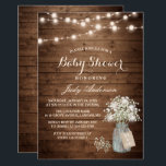 "Baby Shower Rustic Baby&#39;s Breath Floral Mason Jar Invitation<br><div class=""desc"">================= ABOUT THIS DESIGN ================= Baby Shower Rustic Baby&#39;s Breath Floral Mason Jar Invitation. (1) For further customization, please click the &quot;Customize it&quot; button and use our design tool to modify this template. All text style, colors, sizes can be modified to fit your needs. (2) If you prefer thicker papers,...</div>"