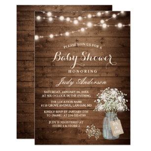 Baby Shower Rustic S Breath Fl Mason Jar Invitation